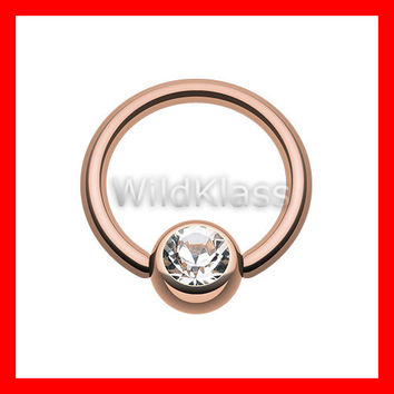 Rose Gold Captive Bead Gem Septum Ring Nose Hoop 16g 14g Helix Earring Cartilage Earring Tragus Jewelry Nipple Piercing Helix Piercing Conch