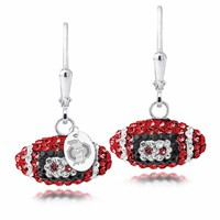 Ohio State University Czech Crystal Football Earrings. Free Shipping
