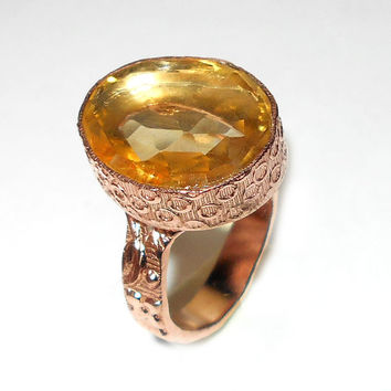 Citrine Ring - Faceted Stone Ring - Citrine Hydro Quartz Ring - Gold Vermeil Ring - Handmade Ring - Rose Gold Ring, Designer Ring, Gift Ring