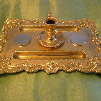 Brass Claw Foot Letter Seal Candle Tray Signed Initialed Hallmarks