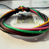 Graduation Gift Friendship Fashion Multicolor Cotton rope weave balck and brown Leather Tube cuff Adjustable Bracelet  M-44