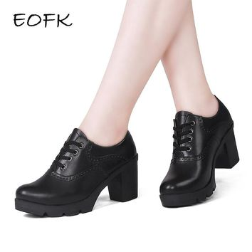 EOFK Women Derby Shoes Plush Square Heel Brogue Shoes Leather High Heels Wedge Shoes Woman Female Winter Shoes With Fur Pumps