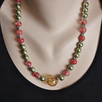 Venetian Blown Glass Green and Red Striped Bead, Pearls, Cherry Quartz Bali Sterling Necklace