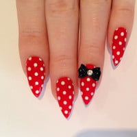Red Bow Stiletto nails, Nail designs, Nail art, Nails, Stiletto nails, Acrylic nails, Pointy nails, Fake nails