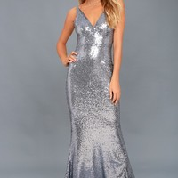 Here to Wow Gunmetal Sequin Maxi Dress