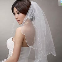 2014 New Ivory White Pearl Satin Edge Double Layers 2 Tiers Bridal Wedding Veil = 1930023620