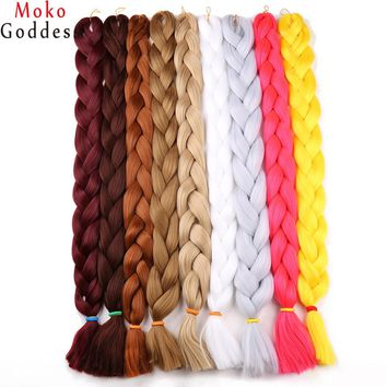 Ali MoKoGoddess 41inch 165g/pack Synthetic Braiding Hair Purple Kanekalon Jumbo Braid Crochet Hair Extensions Blond