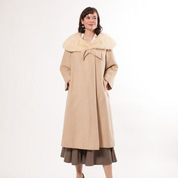 1960s Swing Coat - 60s Wool and Fur Coat - Snowy Ivory