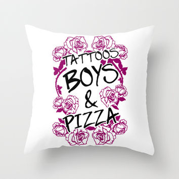Tattoos Boys & Pizza Throw Pillow by LookHUMAN