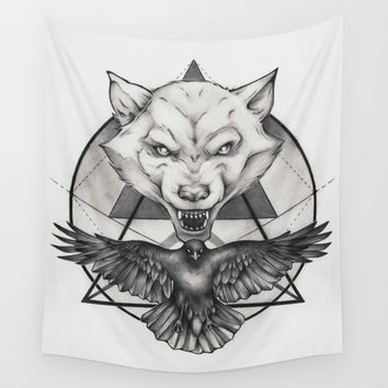 Wolf and Crow - Emblem Wall Tapestry by Puddingshades