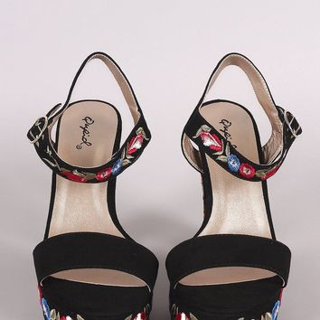 Qupid Embroidered Floral Chunky Platform Heel