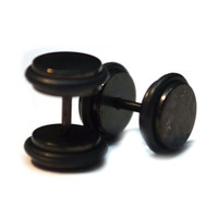 Black Acrylic FAKE PLUG Regular earring 16G (1.2 mm) Surgical steel Nickel-free (2pc)