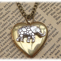 Steampunk Elephant Locketc Necklace Vintage Style by sallydesign