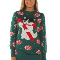 Women's Meowy Christmas Sweater Dress