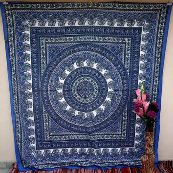 Blue floral large indian tapestry, handmade tapestry,wall hanging,bedspread,hippie tapestry,mandala tapestry,beach blanket,bohemian tapestry