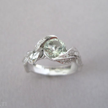 Green Amethyst Leaf Ring, Engagement Leaf Ring, Diamond Engagement Ring, White Gold Diamond leaf Ring With Green Amethyst, Leaves Engagement