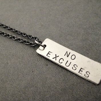 NO EXCUSES Rectangle Pendant Necklace - 3/8 x 1 1/4 inch Hand Hammered Nickel silver Pendant priced with Gunmetal chain