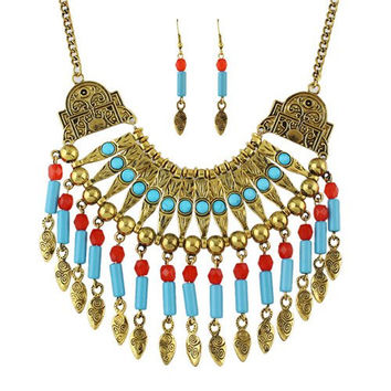 Tribal Designed Beads Alloy Necklace and Earrings