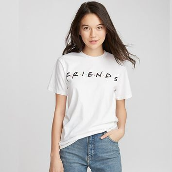T Shirt Womens Retro Friends TV Show Graphic T Shirt Hipster Black Short Sleeve Best Friends T-Shirt Brand Printed Women Tshirt