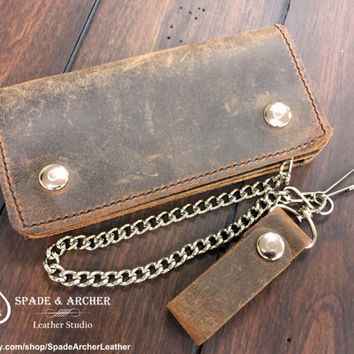 Buffalo Leather Biker Wallet / Leather Chain Wallet / Leather Trucker Wallet  / Leather Snap Wallet/Vintage Looking