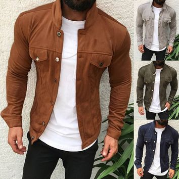 Autumn Winter Men Slim Jacket Casual Fashion Coat Zipper Cool Motorcycle Jacket
