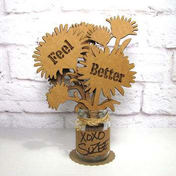 FEEL BETTER Get Well Gift - Corrugated Cardboard Flowers Bouquet In Mini Mason Jar