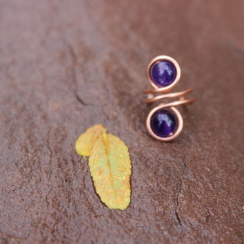 Nature Inspired Copper Ear Cuff with Purple Amethyst Gemstones Unisex Tribal BOHO Earthy Hypoallergenic Women Gift, Copper Ear Cuff, Purple