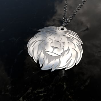 Lion head stainless steel pendant and chain