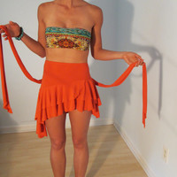 Orange Ruffle Pixie Mini Skirt XS S Vintage by BohemianSeed