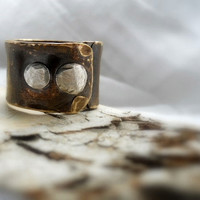 Rugged Unisex Wide Band Ring Aged Brass & by patinaware on Etsy