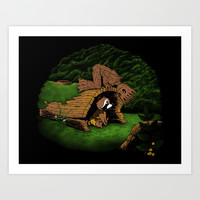 The Tree and the Raccoon Art Print by Pigboom El Crapo
