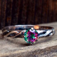 Beautiful multicolor 5mm mystic topaz on sterling silver pattern band size 8 ready to ship