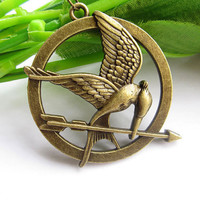 Hunger games necklace--antique bronze necklace,hunger games pendant,alloy chain,friendship necklace