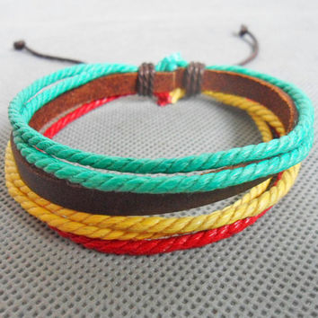 Jewelry bangle leather bracelet hemp ropes bracelet women bracelet men bracelet made of ropes and leather cuff bracelet  SH-2271
