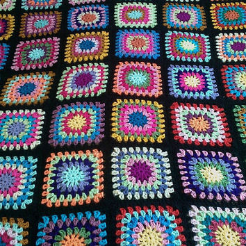 Crochet Blanket Handmade -  Made in tradition granny multi colour style with black border CUDDLE BLANKET (nannycheryl original) ID 780