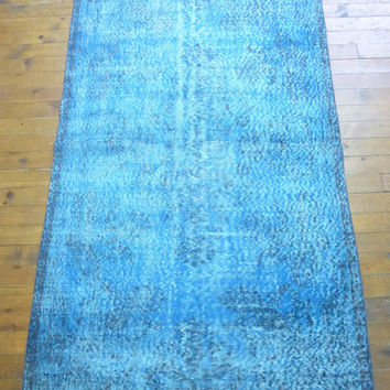 Small Turquoise Overdyed area rug, 7 x 4 feet