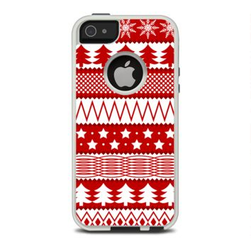 The Red and White Christmas Pattern Apple iPhone 5-5s Otterbox Commuter Case Skin Set