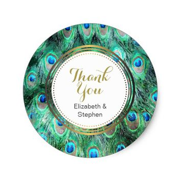 Peacock Feathers Exotic Wild Watercolor Thank You Classic Round Sticker