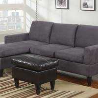 Poundex F7285-1 3 pc grey microfiber apartment size sectional sofa with reversible chaise and faux leather ottoman