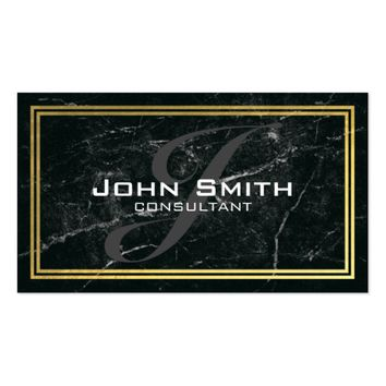 Black Marble and Gold Border Monogram Consultant Business Card