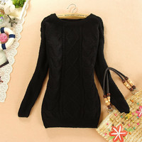 New Autumn Woman's Round Neck Systemic Serratula Slim Sweater