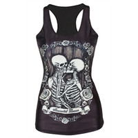Women's Kissing Skeleton Tank Vest Top Shirt Gothic Punk Rock