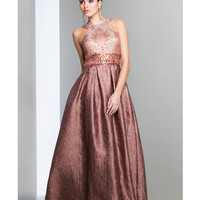 Preorder - Mignon VM1669 Copper Patterned Bodice Gown Fall 2015