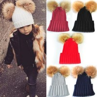 Top Selling New Double Ball Child Kids Toddler Winter Beanie Hat Cap Wool Knit Fur Knit and Faux Furd 2017 Vicky