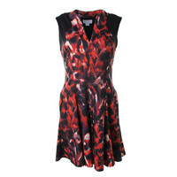Jessica Simpson Womens Printed Sleeveless Cocktail Dress