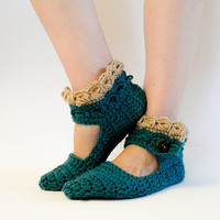 Crochet Women Slippers, Green Leg Warmers