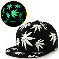 Weed Fluorescent Glow In the Dark Black Light Snapback Hat