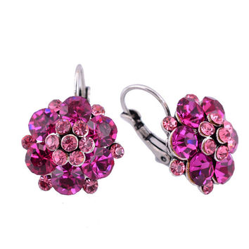 Clip On Earrings For Women Fashion Accessories Gold Silver Plated Multicolor Crystal Rhinestone Statement Clip Earrings Jewelry