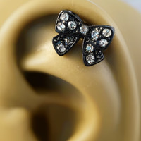 Black Bow Cartliage Earring Tragus Helix Conch Piercing