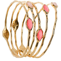 Faux Pink Stone Gold Tone Multiple Bangle Bracelets | Body Candy Body Jewelry